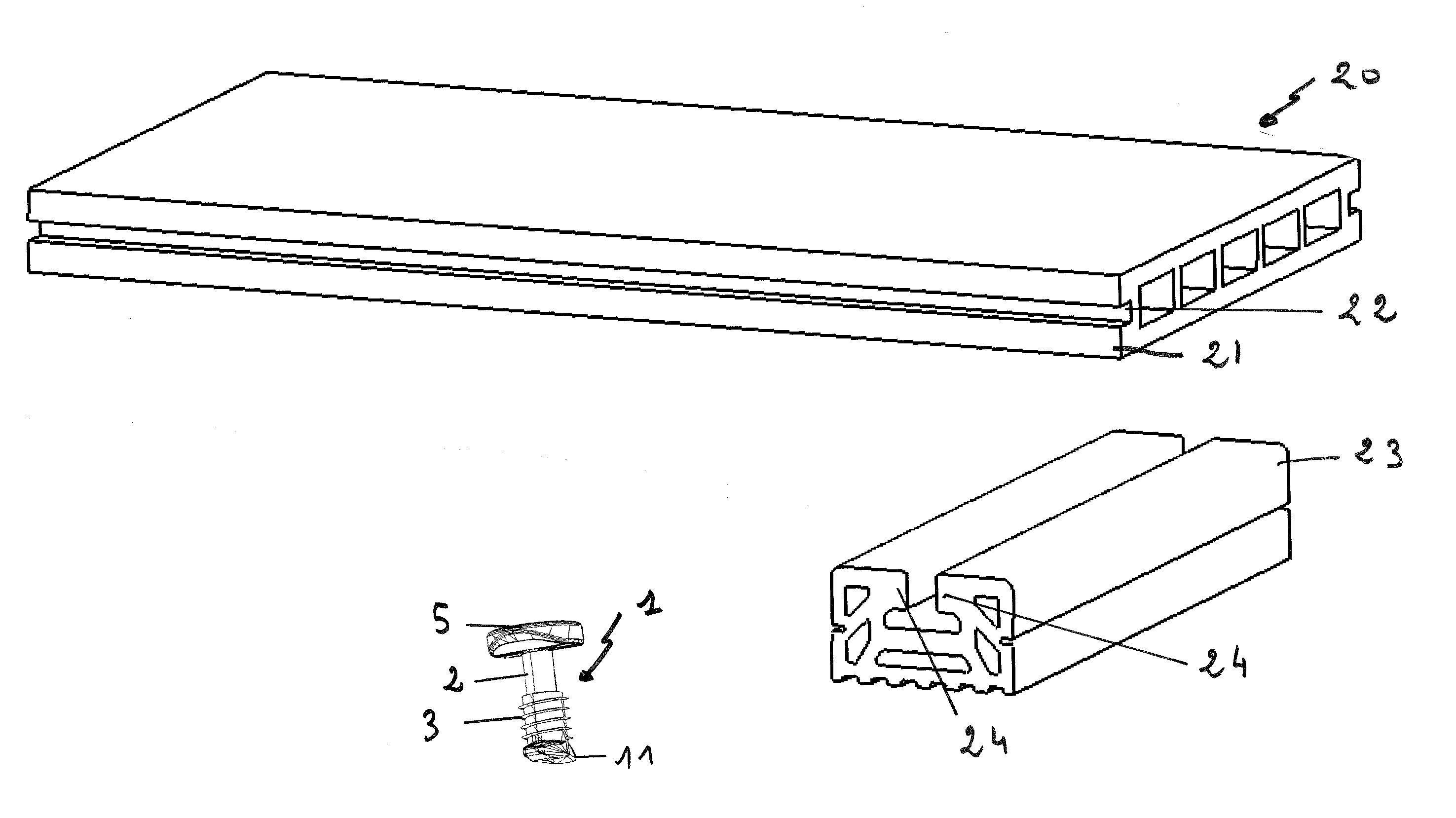 Schéma présentant le système de fixation de lame de parquet étudié et calculé par Mécastyle